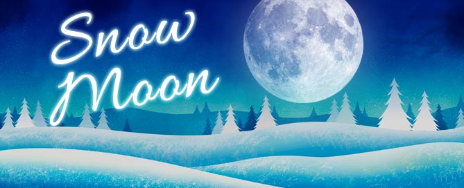Full Snow Moon over snowy landscape